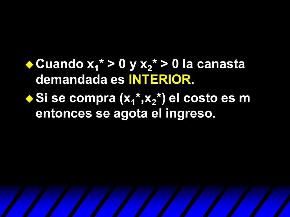 Cuando x1* > 0 y x2* > 0 la canasta demandada es INTERIOR.