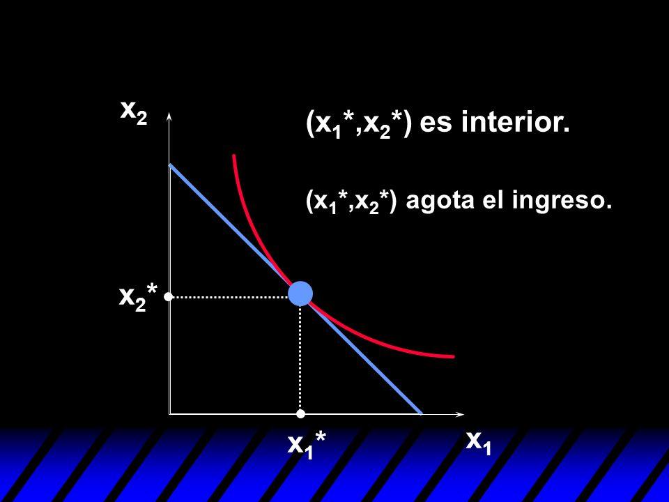 x2 (x1*,x2*) es interior. (x1*,x2*) agota el ingreso. x2* x1* x1