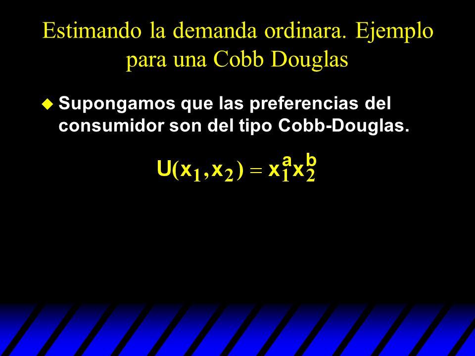 Estimando la demanda ordinara. Ejemplo para una Cobb Douglas