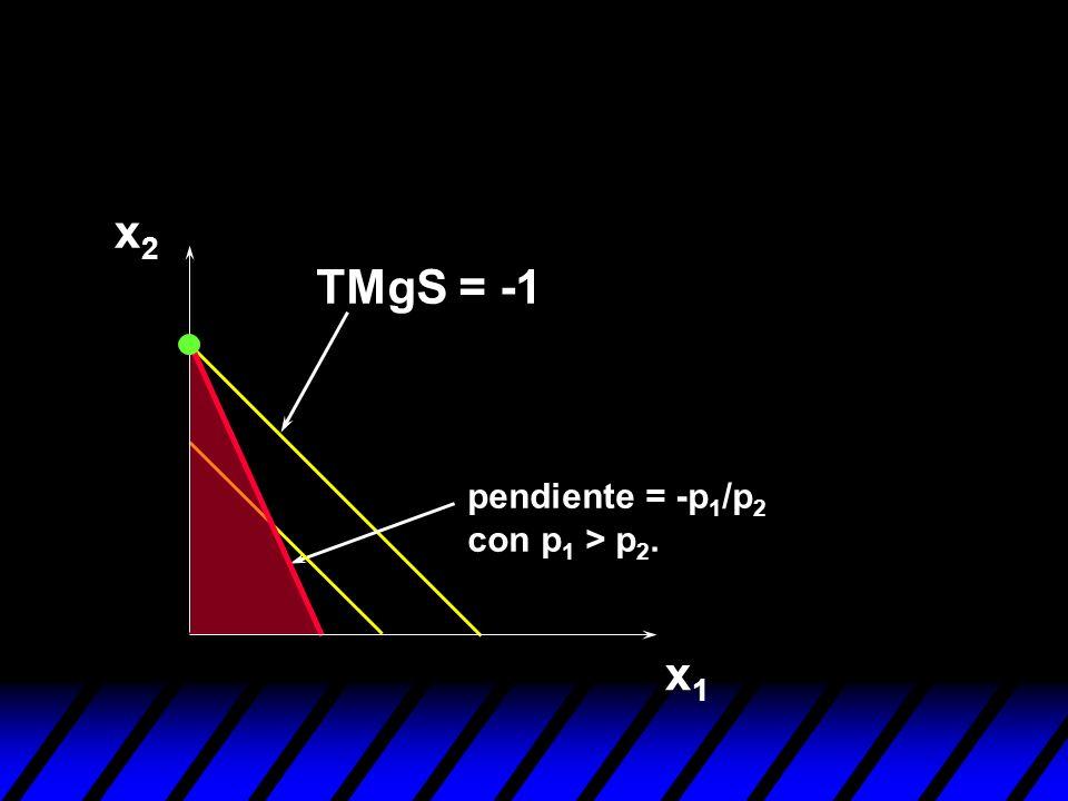x2 TMgS = -1 pendiente = -p1/p2 con p1 > p2. x1