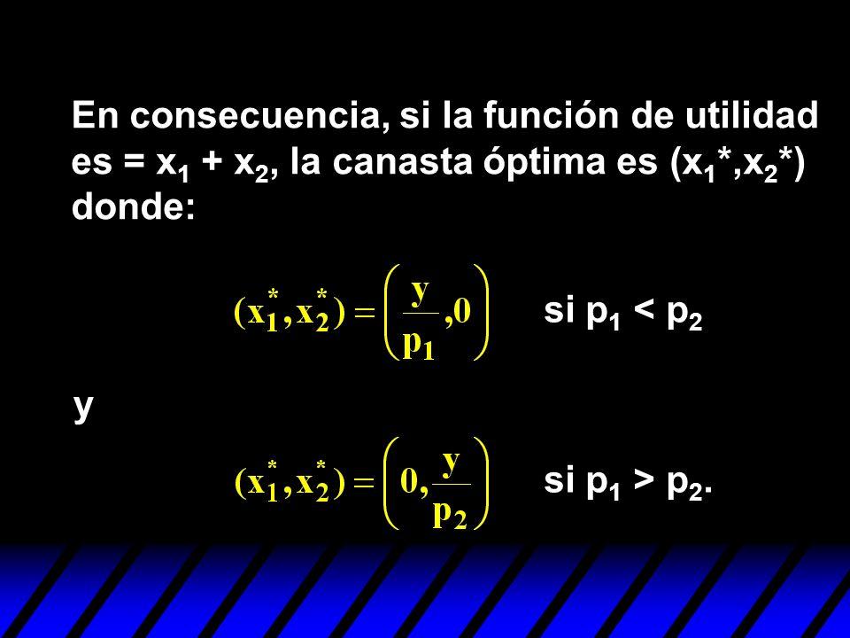 En consecuencia, si la función de utilidad es = x1 + x2, la canasta óptima es (x1*,x2*) donde: