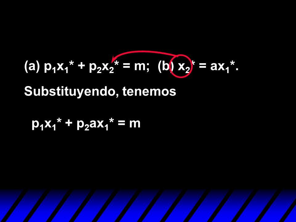 (a) p1x1* + p2x2* = m; (b) x2* = ax1*.