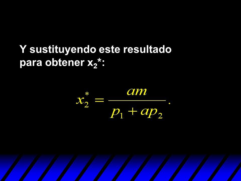 Y sustituyendo este resultado para obtener x2*:
