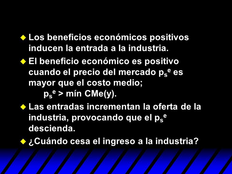 Los beneficios económicos positivos inducen la entrada a la industria.