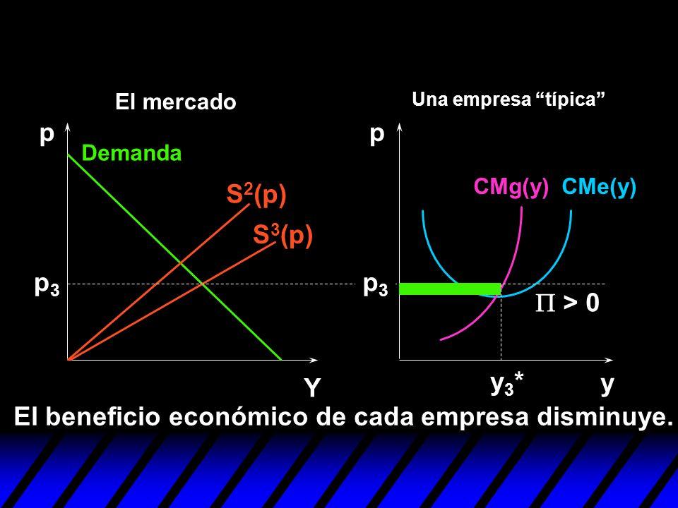 El beneficio económico de cada empresa disminuye.