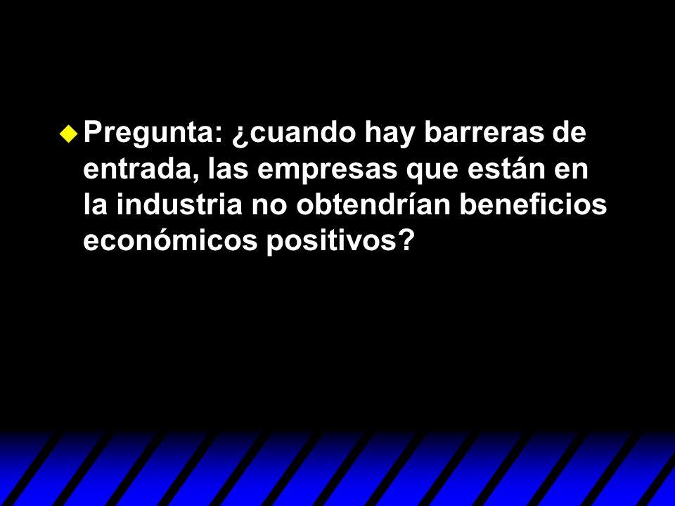 Pregunta: ¿cuando hay barreras de entrada, las empresas que están en la industria no obtendrían beneficios económicos positivos