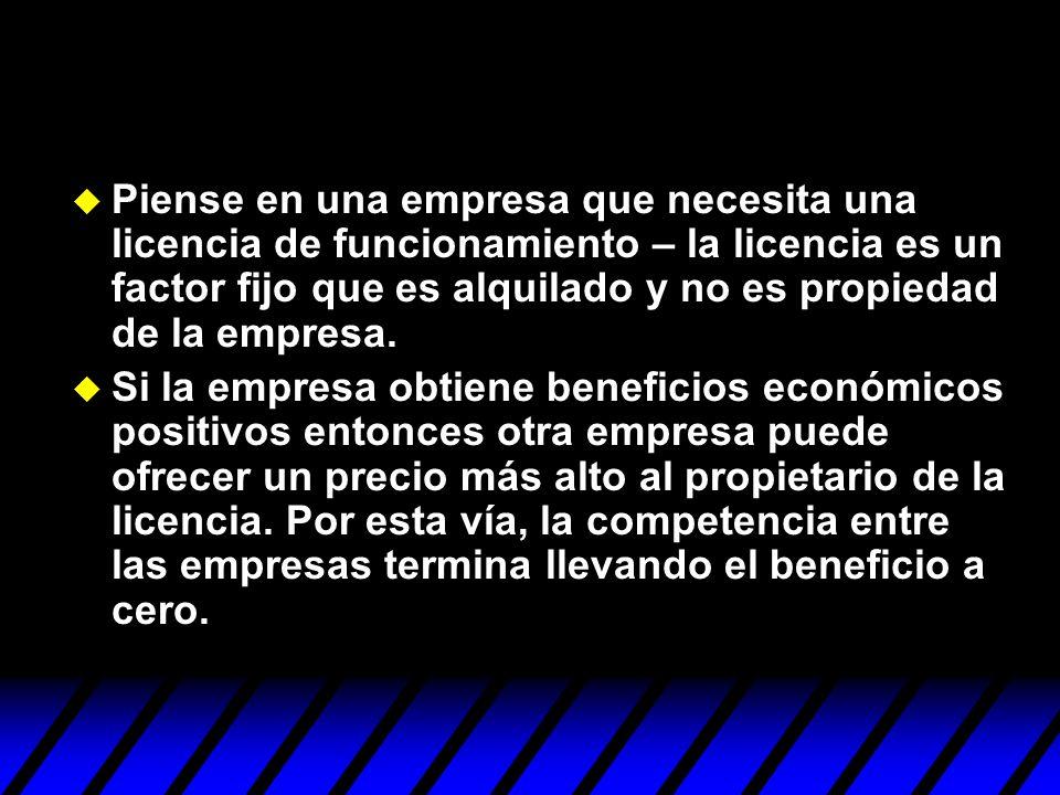 Piense en una empresa que necesita una licencia de funcionamiento – la licencia es un factor fijo que es alquilado y no es propiedad de la empresa.