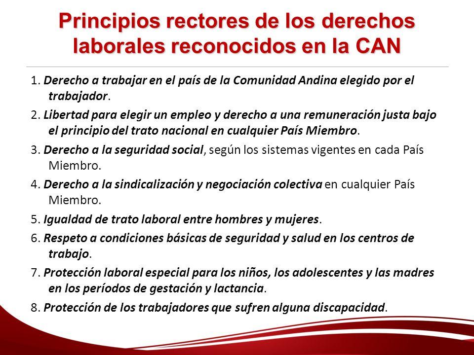 Principios rectores de los derechos laborales reconocidos en la CAN