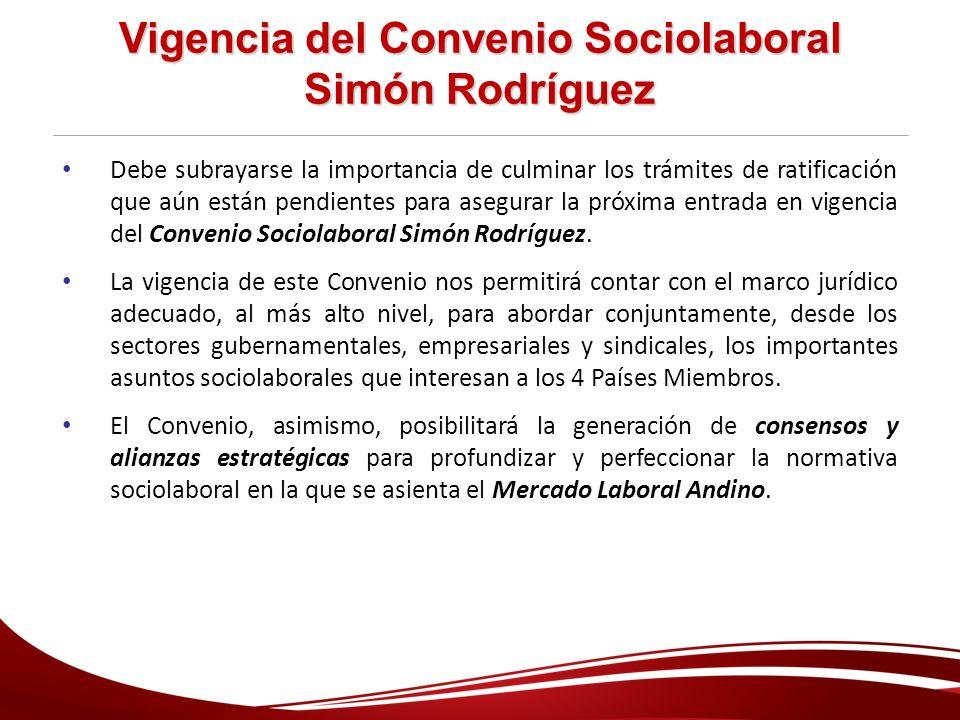 Vigencia del Convenio Sociolaboral Simón Rodríguez