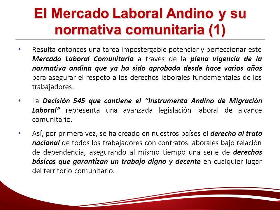 El Mercado Laboral Andino y su normativa comunitaria (1)