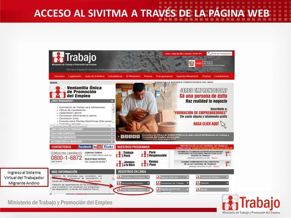 Ingreso al Sistema Virtual del Trabajador Migrante Andino