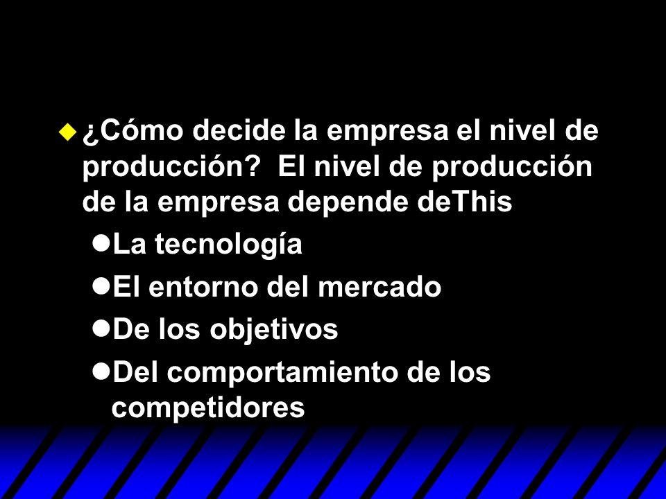 ¿Cómo decide la empresa el nivel de producción
