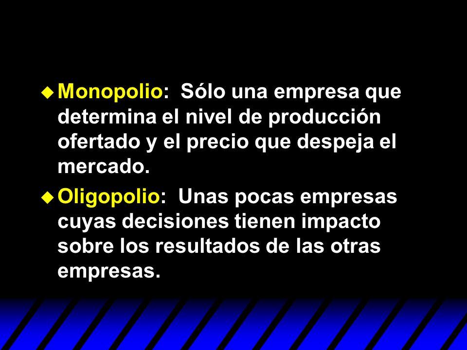Monopolio: Sólo una empresa que determina el nivel de producción ofertado y el precio que despeja el mercado.