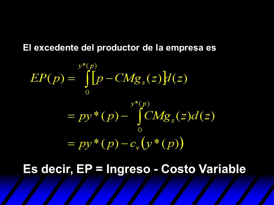 Es decir, EP = Ingreso - Costo Variable