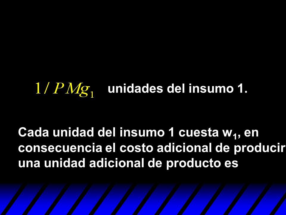 unidades del insumo 1. Cada unidad del insumo 1 cuesta w1, en. consecuencia el costo adicional de producir.