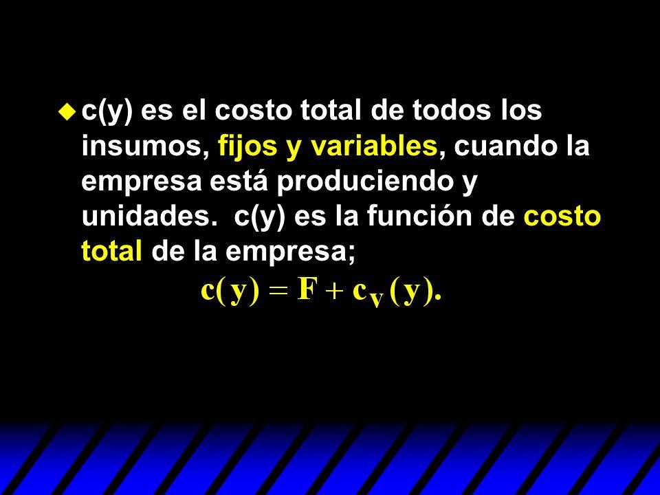 c(y) es el costo total de todos los insumos, fijos y variables, cuando la empresa está produciendo y unidades.