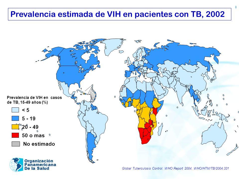 Prevalencia estimada de VIH en pacientes con TB, 2002