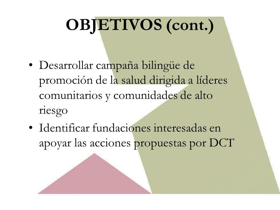 OBJETIVOS (cont.) Desarrollar campaña bilingüe de promoción de la salud dirigida a líderes comunitarios y comunidades de alto riesgo.