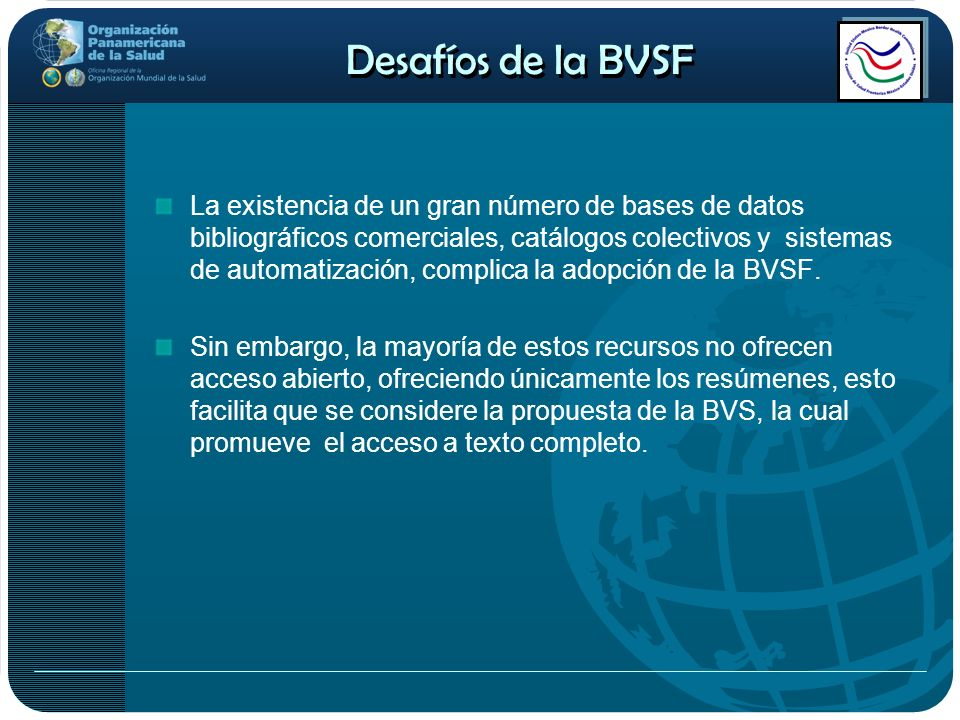 Desafíos de la BVSF