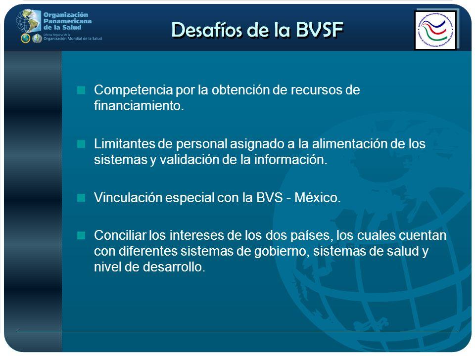 Desafíos de la BVSFCompetencia por la obtención de recursos de financiamiento.