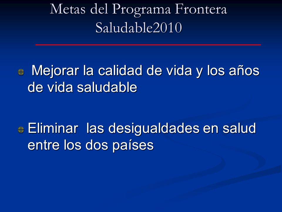 Metas del Programa Frontera Saludable2010
