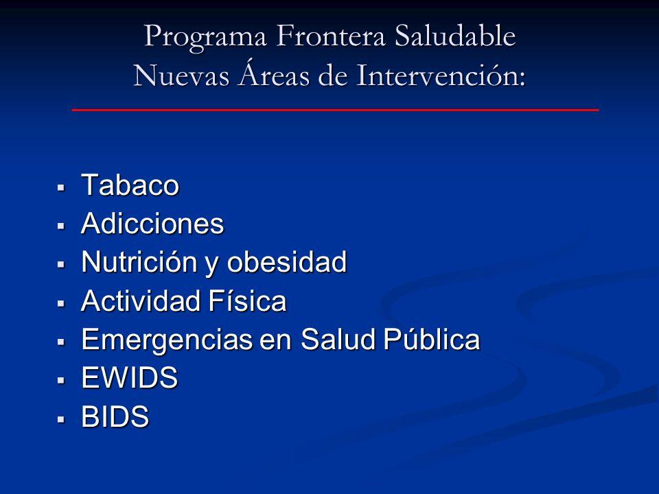 Programa Frontera Saludable Nuevas Áreas de Intervención: