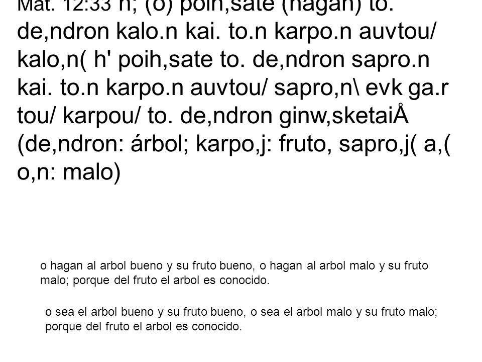 Mat. 12:33 h; (o) poih,sate (hagan) to. de,ndron kalo. n kai. to