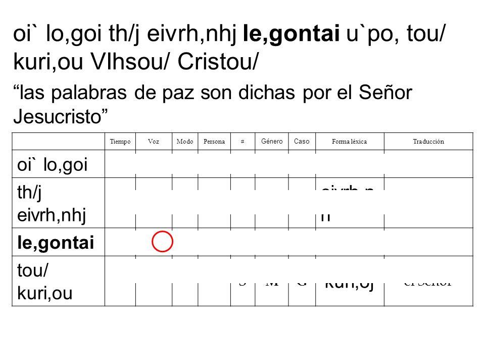 oi` lo,goi th/j eivrh,nhj le,gontai u`po, tou/ kuri,ou VIhsou/ Cristou/