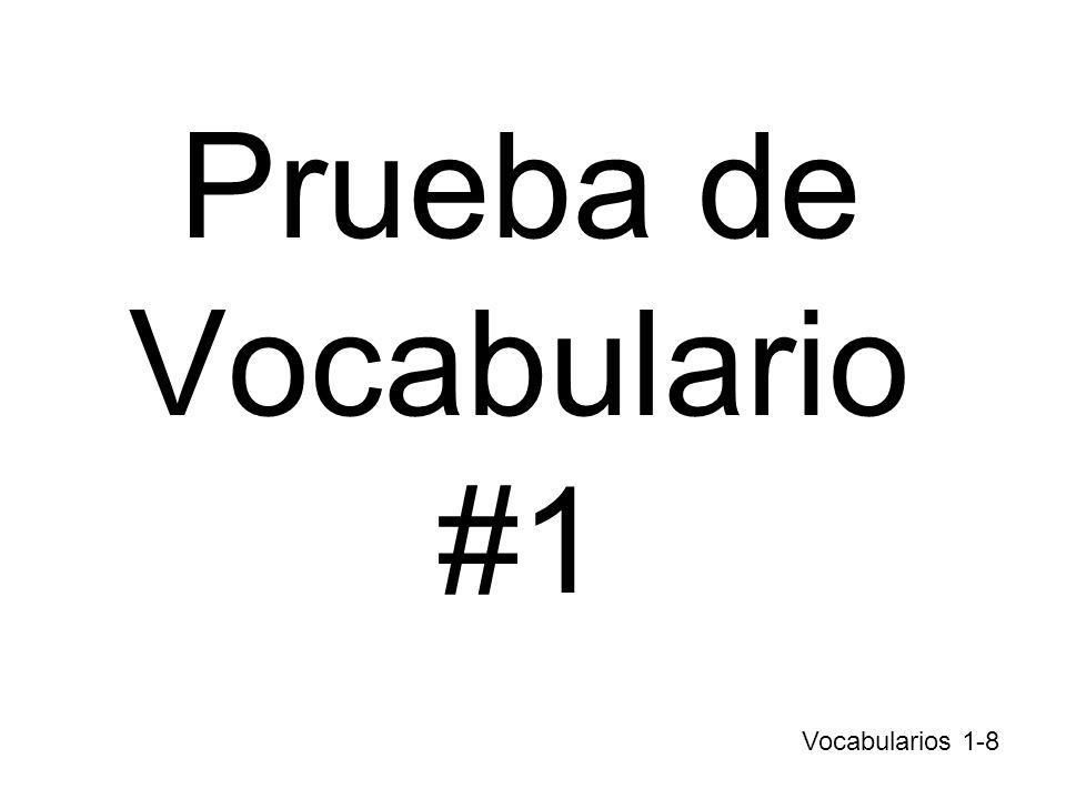 Prueba de Vocabulario #1
