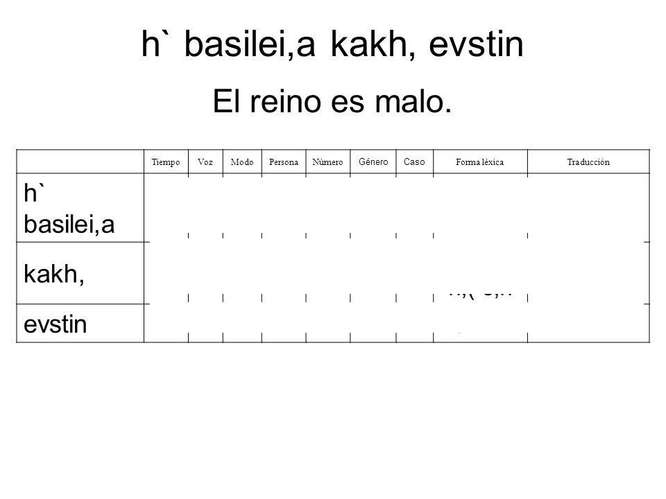 h` basilei,a kakh, evstin
