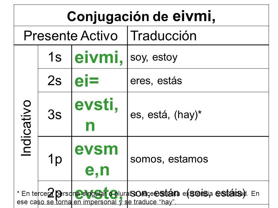 eivmi, ei= evsti,n evsme,n evste, eivsi,n Conjugación de eivmi,