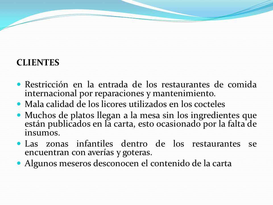 CLIENTES Restricción en la entrada de los restaurantes de comida internacional por reparaciones y mantenimiento.