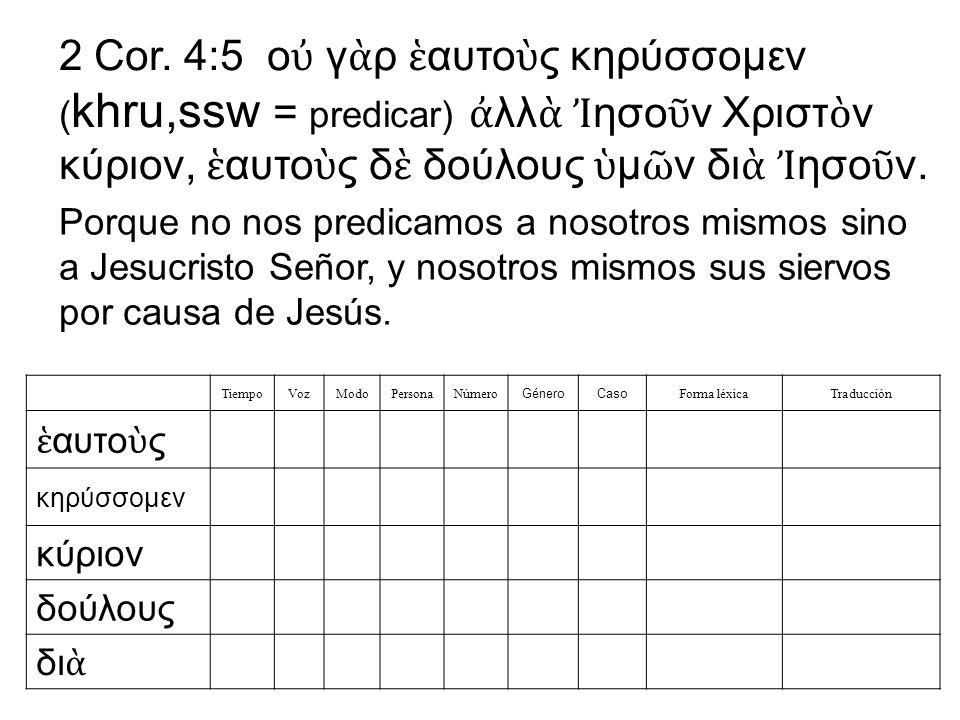 2 Cor. 4:5 οὐ γὰρ ἑαυτοὺς κηρύσσομεν (khru,ssw = predicar) ἀλλὰ Ἰησοῦν Χριστὸν κύριον, ἑαυτοὺς δὲ δούλους ὑμῶν διὰ Ἰησοῦν.