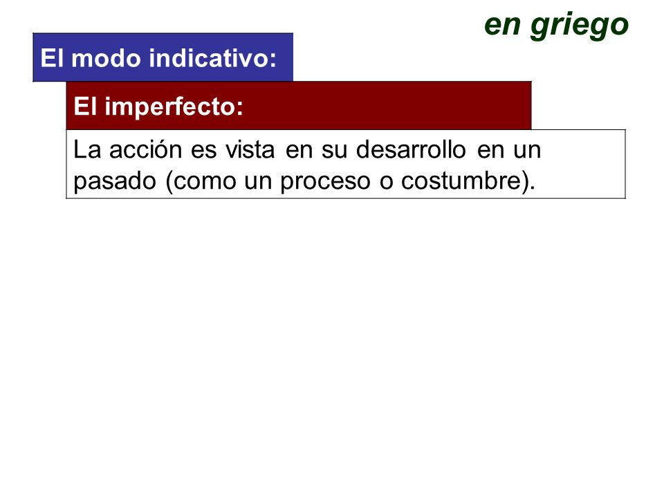 en griego El modo indicativo: El imperfecto: