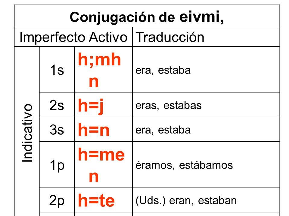 h;mhn h=j h=n h=men h=te h=san Conjugación de eivmi, Imperfecto Activo