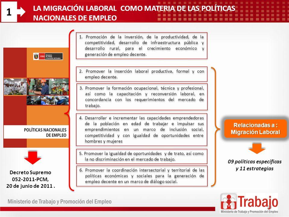 1LA MIGRACIÓN LABORAL COMO MATERIA DE LAS POLÍTICAS NACIONALES DE EMPLEO.