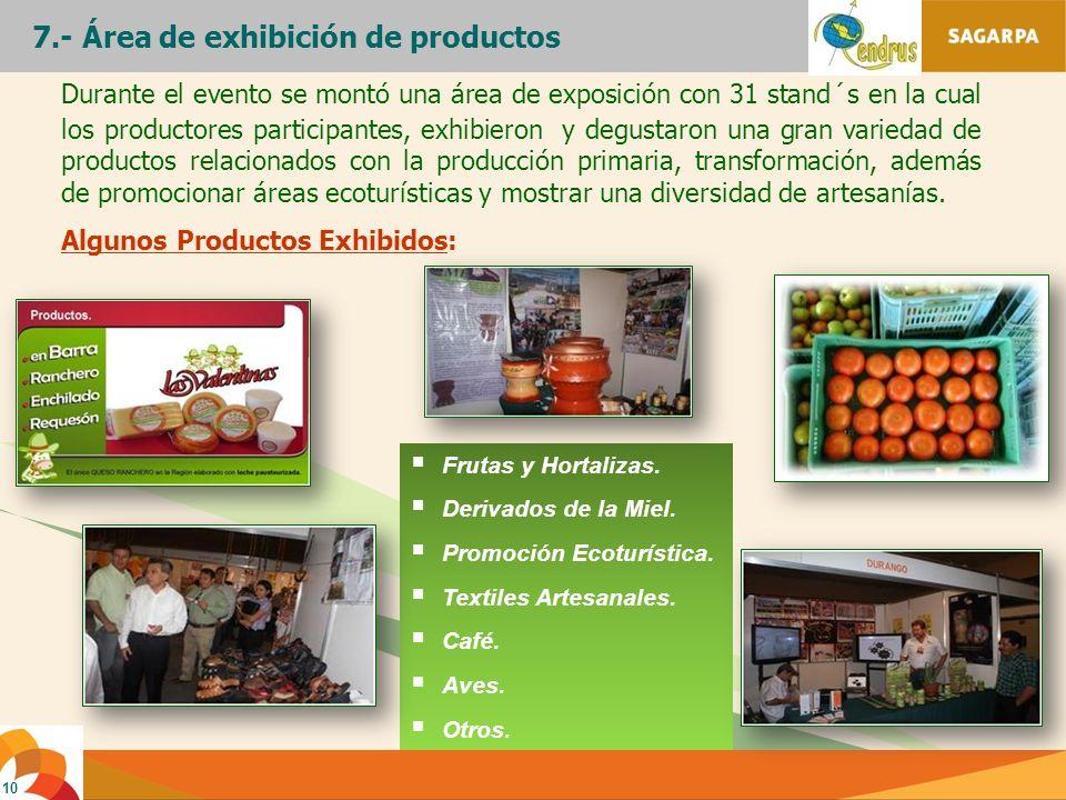 7.- Área de exhibición de productos