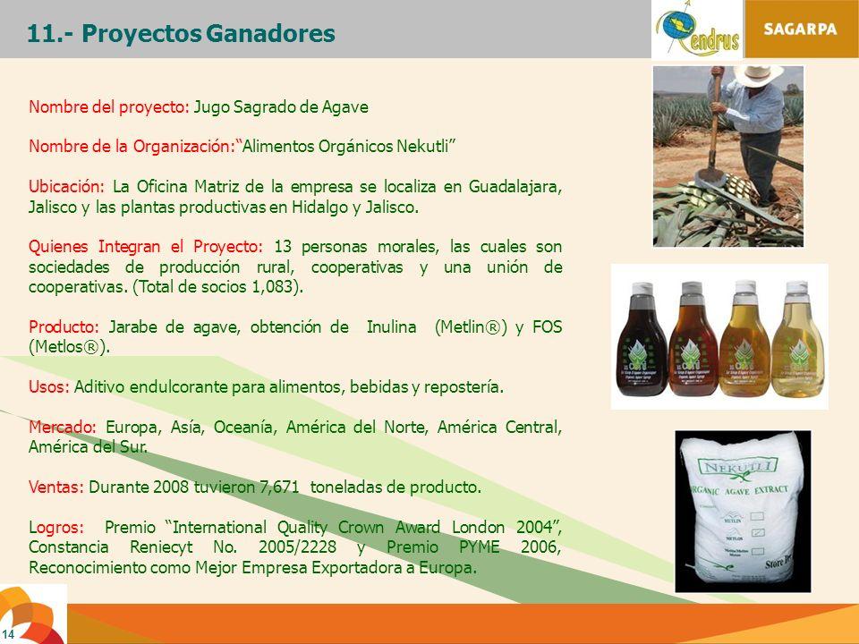 11.- Proyectos Ganadores Nombre del proyecto: Jugo Sagrado de Agave