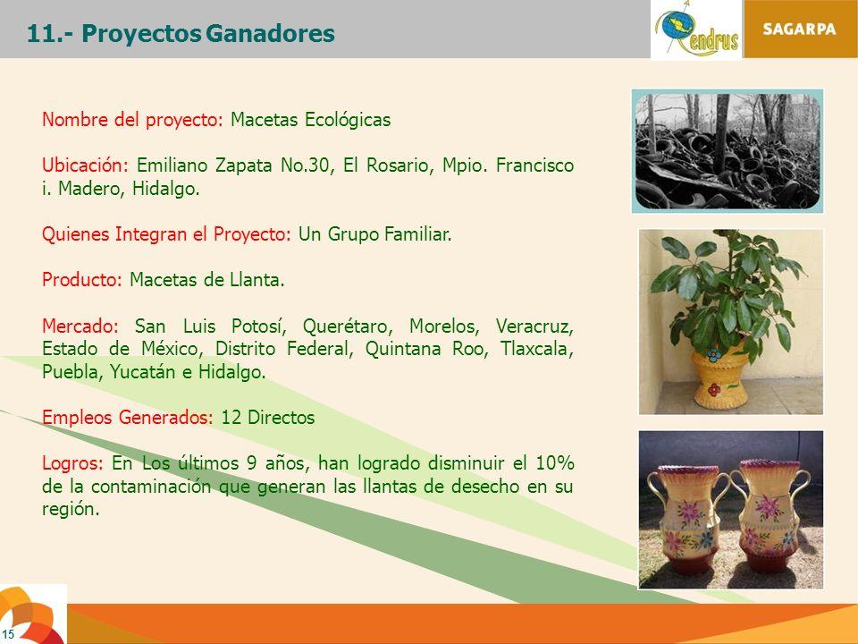 11.- Proyectos Ganadores Nombre del proyecto: Macetas Ecológicas