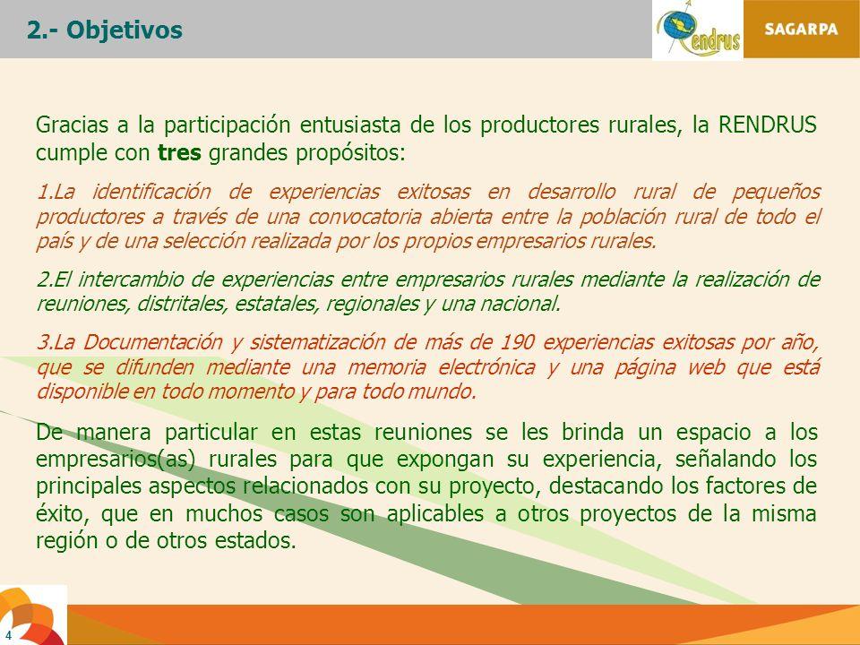 2.- ObjetivosGracias a la participación entusiasta de los productores rurales, la RENDRUS cumple con tres grandes propósitos: