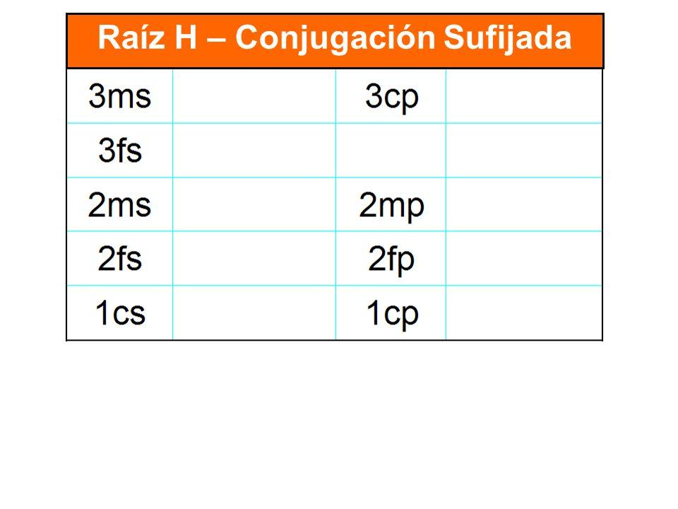 Raíz H – Conjugación Sufijada