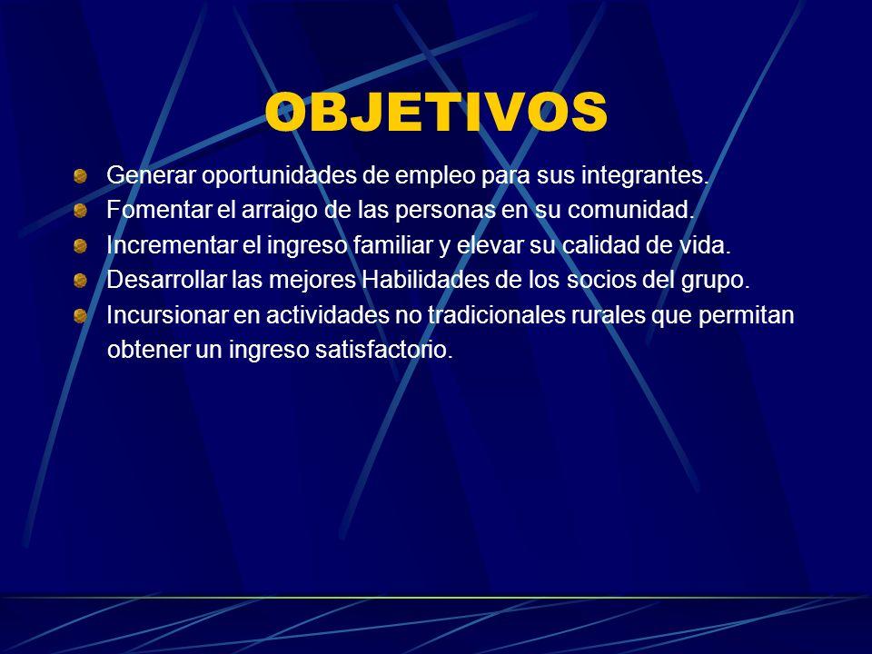 OBJETIVOS Generar oportunidades de empleo para sus integrantes.