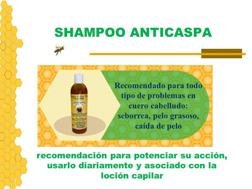SHAMPOO ANTICASPA Recomendado para todo tipo de problemas en cuero cabelludo: seborrea, pelo grasoso, caída de pelo.