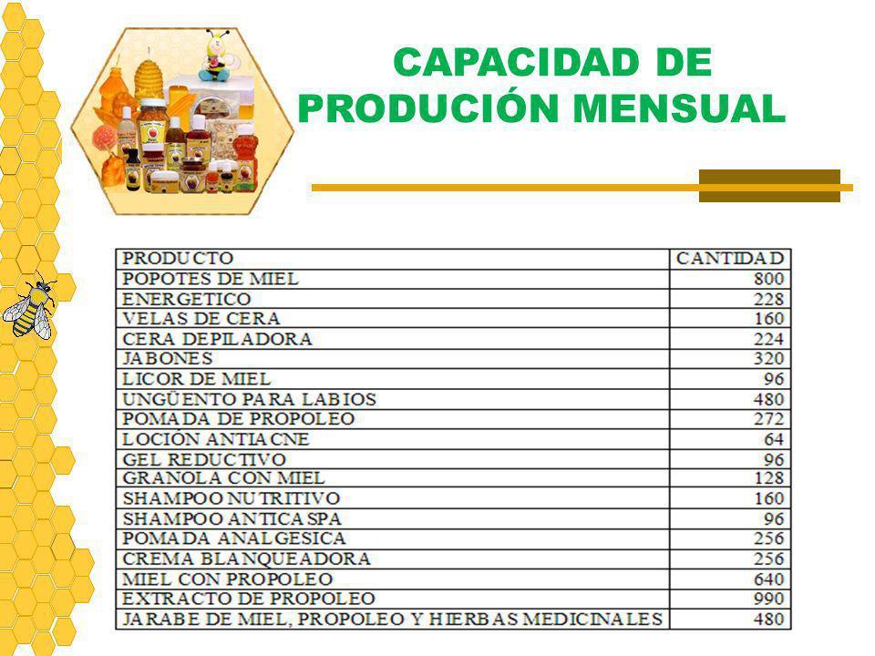 CAPACIDAD DE PRODUCIÓN MENSUAL