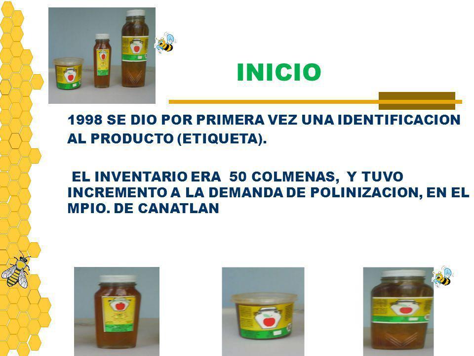 INICIO 1998 SE DIO POR PRIMERA VEZ UNA IDENTIFICACION AL PRODUCTO (ETIQUETA).