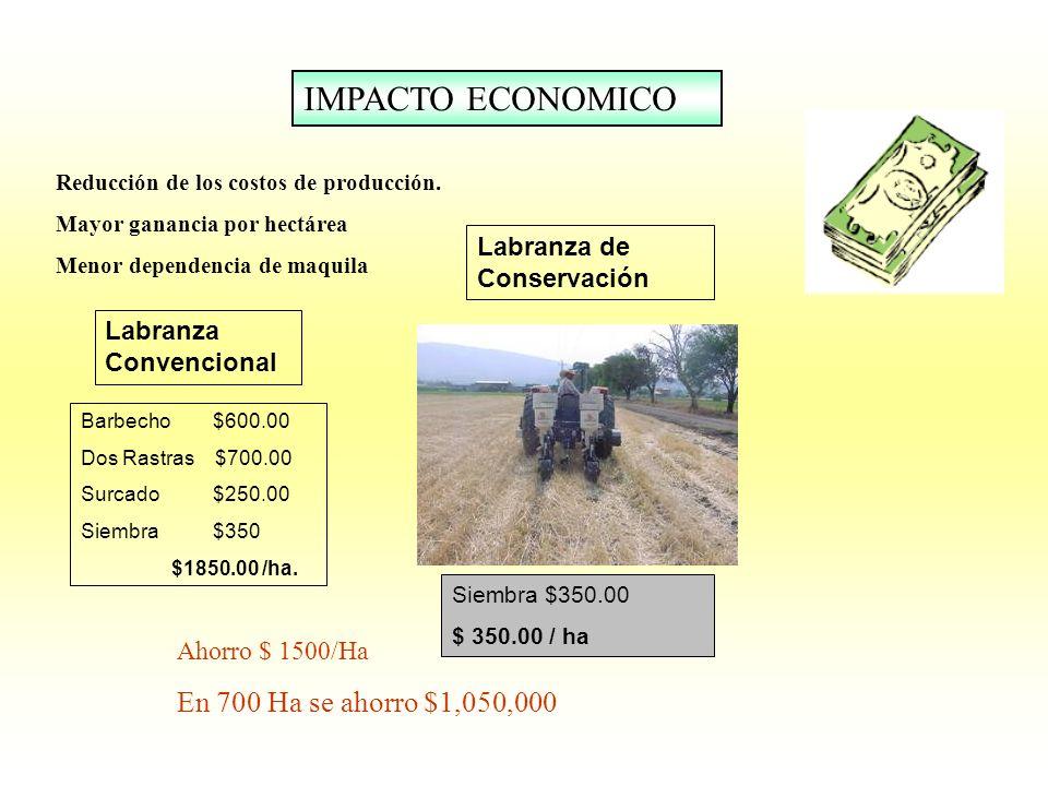 IMPACTO ECONOMICO En 700 Ha se ahorro $1,050,000