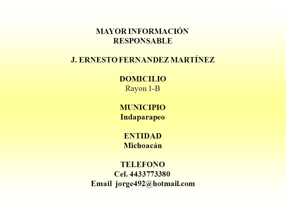 J. ERNESTO FERNANDEZ MARTÍNEZ Email jorge492@hotmail.com