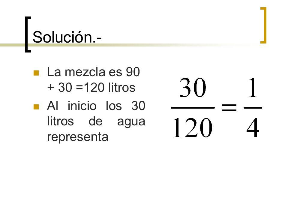 Solución.- La mezcla es 90 + 30 =120 litros