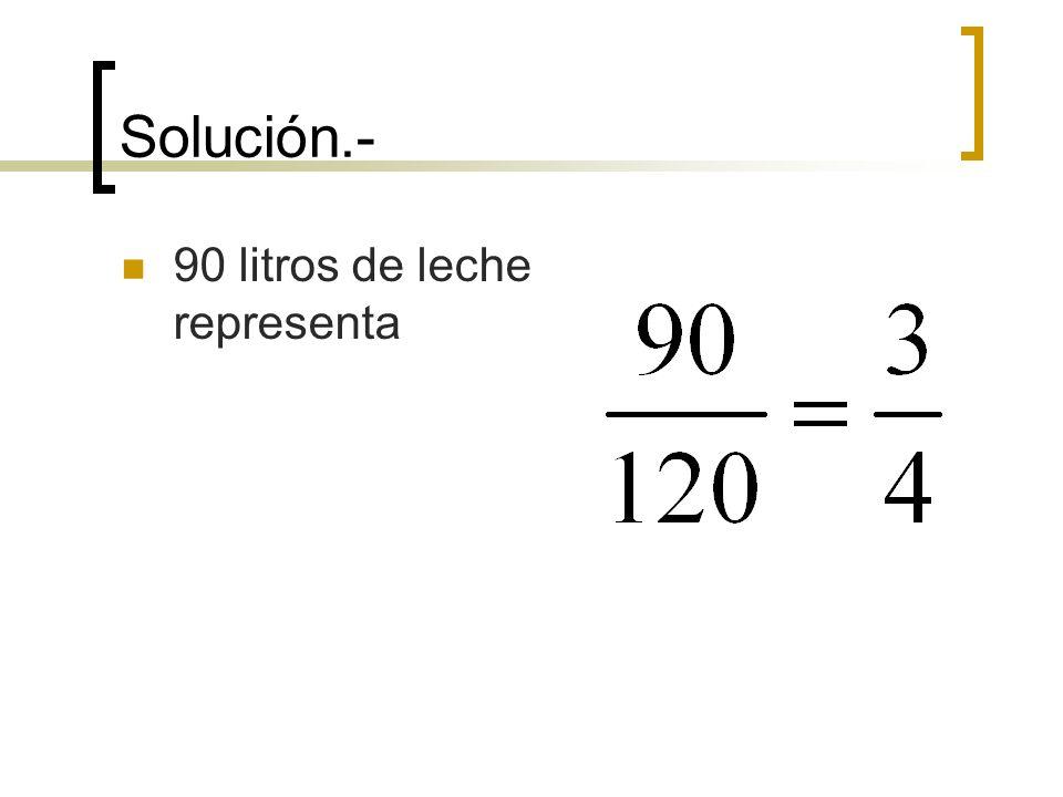 Solución.- 90 litros de leche representa