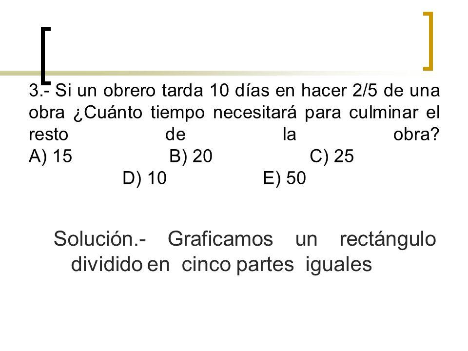 Solución.- Graficamos un rectángulo dividido en cinco partes iguales